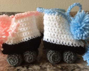 Crocheted Roller Skate Baby Booties