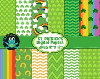 75% OFF SALE St- Patrick's Digital Papers, Commercial and Personal Use - UZ878