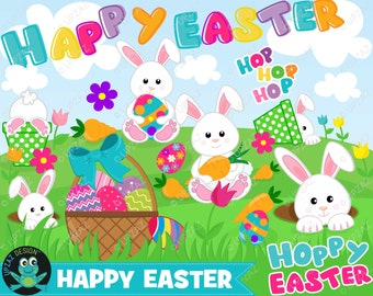 Easter Bunny Clipart, Instant Download, Commercial Use - UZ880