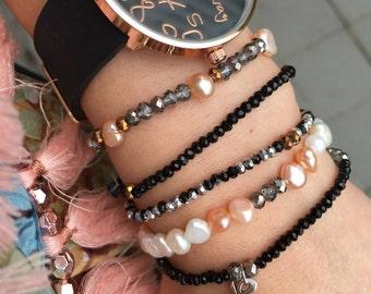 Pearl and Jet Charm Bead Bracelet Set