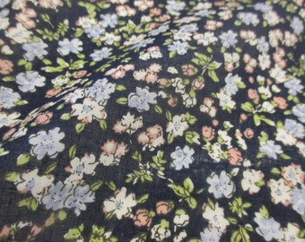 "Navy ""Blossoms"" Summer Floral Printed 100% Cotton VOILE Fabric"