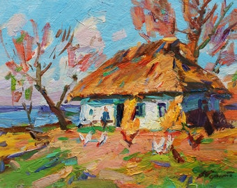 Sunny Rural Landscape ORIGINAL OIL PAINTING by listed artist V. Pereta Ukrainian Art, Countryside view Plein Air Painting Impressionist Art
