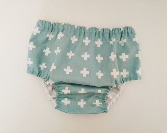 Culotte Cruces Mint -Cubrepañal bebé - Diaper cover - Bloomers