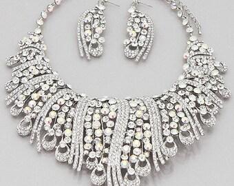Wedding Round Crystal Studded Bib Necklaces Set