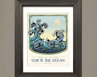 The Ocean: Whimsical and Vintage styled 11x14 poster of a Jonathan Edwards spiritual and inspirational quote  by Inklings of an Artist