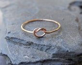 Skinny Knot ring, 14k yellow or rose gold filled, sterling silver 0.925, sailor knot, celtic knot, friendship, engagement, made at your size