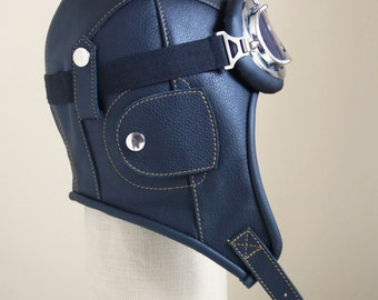 leather aviator hat, steampunk hat, bomber hat