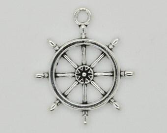 Silver Boat Wheel Charm Necklace, Boat Wheel Pendant, Boat Wheel Charm Pendant