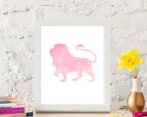Pink Watercolor Lion - Jungle Animal Print - Printable Nursery Decor - Safari Theme - Jungle Theme - Baby Girls Room - Playroom Art - 8x10