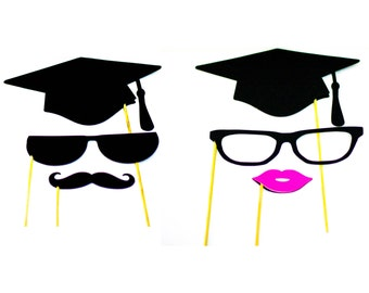 Graduation photo booth props, custom photo booth props, mustache photo props