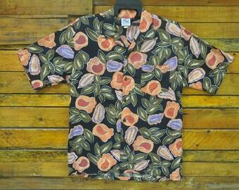 Rare Vintage DUKE KAHANAMOKU Coconut Button Hawaiian Shirt,Size L,Vintage Hawaii Shirt,Aloha Hawaii,Tiki,Sun Surf,Hawaiian Surfer,Hip Hop