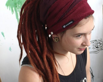 Dreadlock tube bordeaux fleece dread Hat dread wrap headband