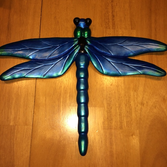 Ceramic dragonfly wall decor blue green black by for Dragonfly wall art