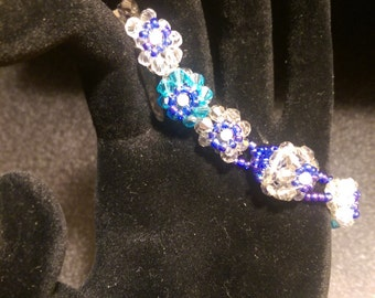 Blue and Silver Crystal Blooming Blossoms Bracelet