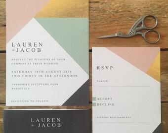 Geo Block Printable Wedding Stationery, Personalised Digital PDF