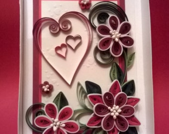 Greeting Quilled Card, Quilled Valentine Day Card, Handmade Quilling Card, I Love you Card, Red Flowers Card, Paper Card