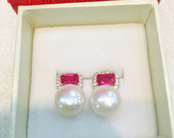 Pearl and red crystal stud earring in sterling silver