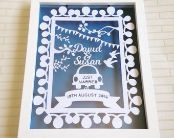 Personalised wedding gift, wedding papercut, just married, papercut, papercut, wall art, home decor, custom, wedding keepsake