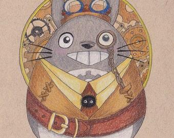 Totoro Steampunk - OOAK Colored Pencil Illustration
