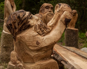 Large Chainsaw Carving Drinking Dwarf