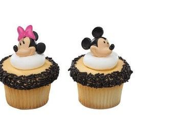 Mickey & Minnie Mouse cupcake rings (24) party favor cake topper 2 dozen