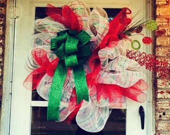 Christmas poly mesh wreath