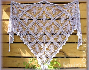 Large shawl triangle cotton and silk purple knitted hand crochet