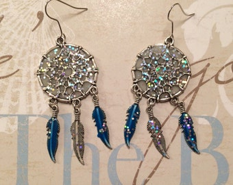 Sparkle and glow dream catcher earrings