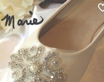 "Ivory or White Wedding Bridal SHOES Flats Ballet Slipper Ballerina Style  ""CELTIC""  Pearls Crystals Custom   Now On SALE!"