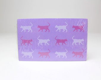 Vintage 1984 Purple Cat Pattern Note Cards, Set of 12 by Current Inc. - 80s Kitty Cat Stationery
