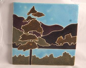 Ceramic Art Tile-Tree and Hills landscape green THL400