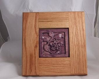 Ceramic Art tile- purple flower framed
