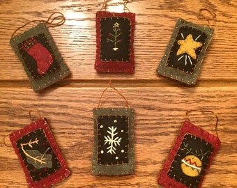 Primitive Feather Tree Ornaments (Set of 6 different designs)