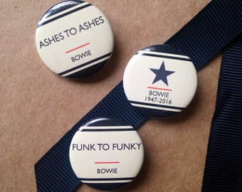 DAVID BOWIE (Set 1) - Ashes to Ashes - 3 Badge Set