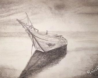 """Gestrandetes Boot """"stranded boat"""", Graphitzeichnung im Alurahmen"""