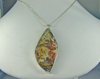 Morrisonite Agate Sterling Silver Pendant, Silver pendant necklace, agate pendant, picture agate