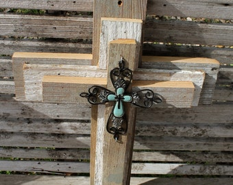 Decorative crosses, rustic cross wall decor, wooden cross, unique wall crosses, decorative wall crosses, reclaimed wood, metal cross