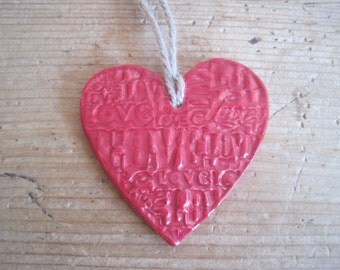 Hanging Ceramic Love Heart
