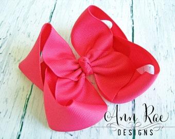 Shocking Pink Big Baby Hair Bow, Girls Hair Bow, Baby Headband, Hair Bow For Babies, Hair Bow For Girls, Headband for Babies, Boutique Bow