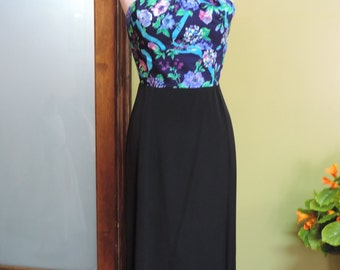 Floral Print bodice dress with black skirt