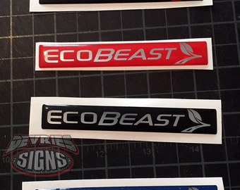 Domed FORD ECOBEAST emblem overlays ecoboost eco boost turbocharged FUSION 2013+