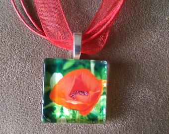 Photography Pendant Necklace Wearable Artwork orange red Poppies