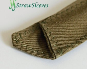 Straw Sleeve made from reclaimed cotton blend bottom weight fabric.