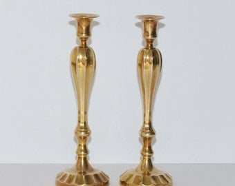 Vintage Solid Heavy Brass Candlestick Holders, Pair