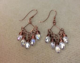 AB crystal & copper chandelier earrings