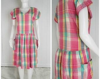 Vintage Womens 1980s Plaid Cotton Short Sleeve Drop Waist Sundress | Size M