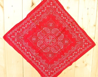 Vintage 1950's/60's Red ELEPHANT Bandana TRUNK UP / Color Fast / Retro Collectable Rare