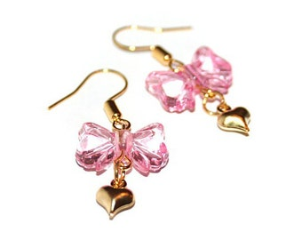 Pink Heart and Bow Hook Earrings