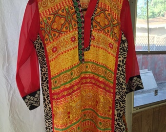 Beautiful red and yellow kurti