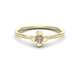Flower Gold ring, 14K Gold Ring,Diamond Ring,Nature Inspired handmade Ring,Stack able Ring, 106